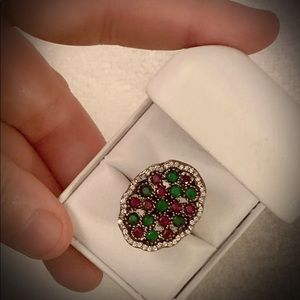RUBY EMERALD GEM RING Size 9 Solid 925 Silver/Gold
